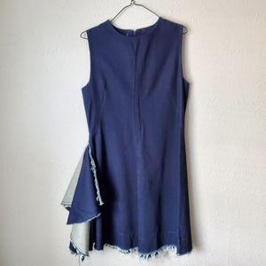 Tish Cox Denim Frayed Deb Sleeveless Dress